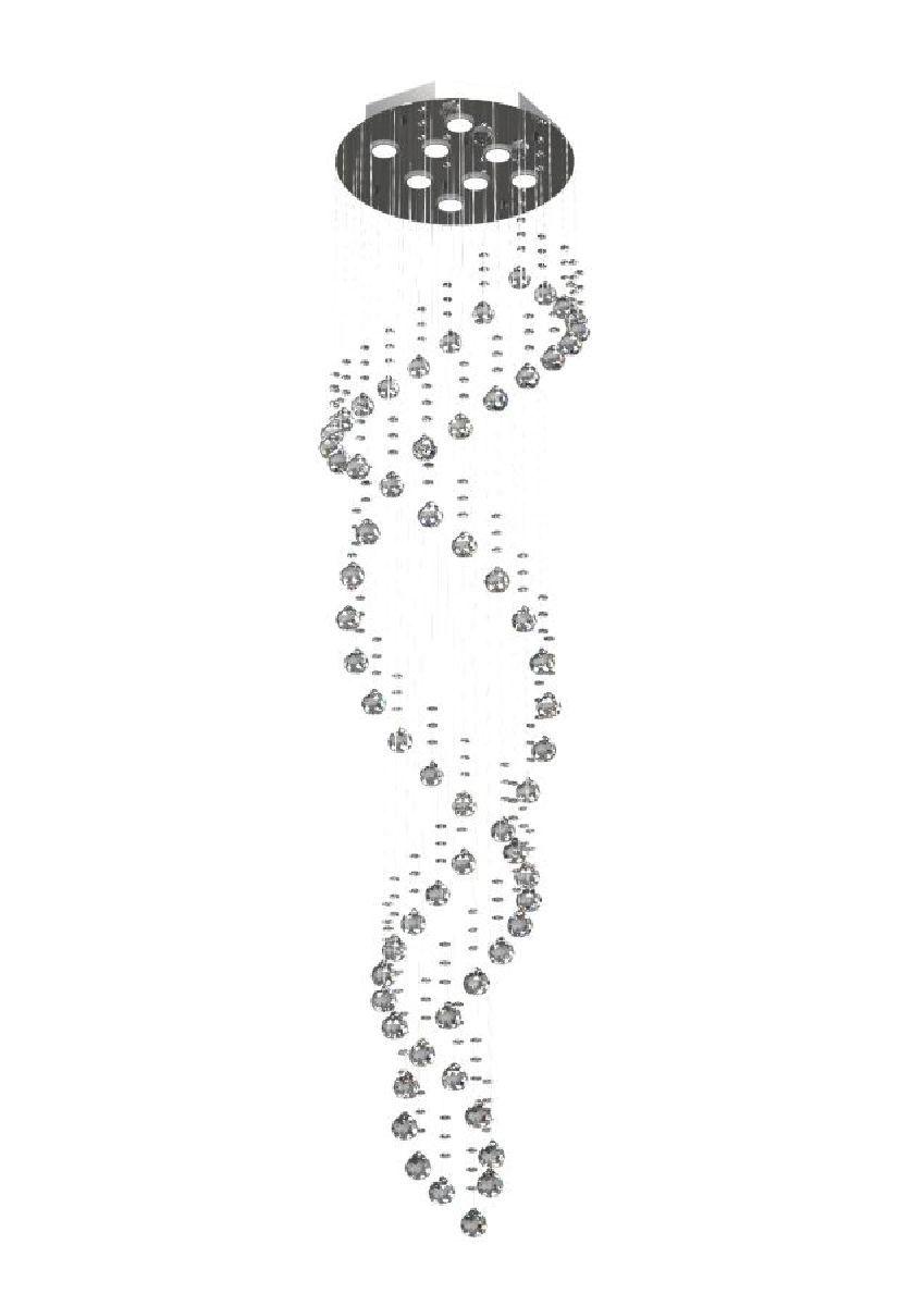 Lustre de Cristal Legitimo DNA 42cm Pé Direito Duplo Vão de Escada Sala Alta Com Lampadas Led