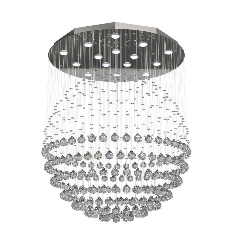 Lustre de Cristal Legitimo Globo 80cm Sala de Estar Mesa Jantar Quarto Living G180 Com Lampadas Led