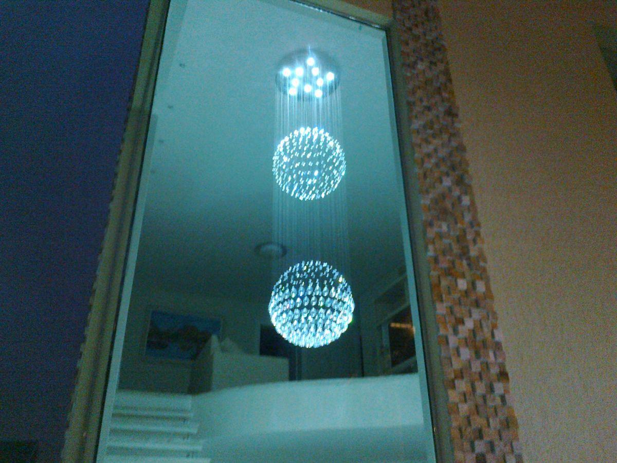 Lustre de Cristal Legitimo Globo Duplo 60cm Pé Direito Duplo Vão de Escada Sala Alta G260 Com Lampadas Led