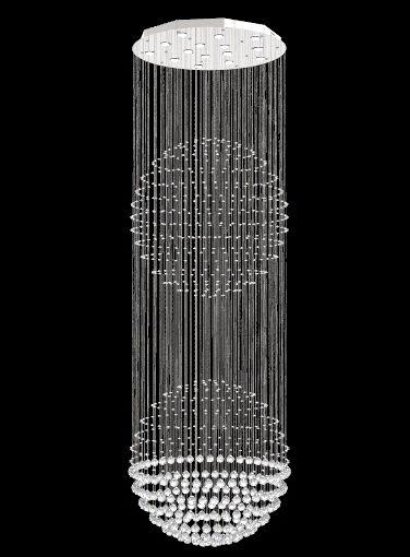 Lustre de Cristal Legitimo Globo Duplo 80cm Pé Direito Duplo Vão de Escada Sala Alta G280 Com Lampadas Led