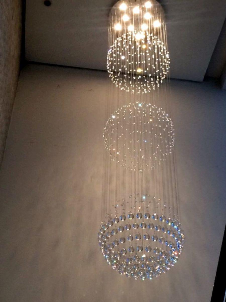 Lustre de Cristal Legitimo Globo Triplo 60cm Pé Direito Duplo Vão de Escada Sala Alta G360 Com Lampadas Led