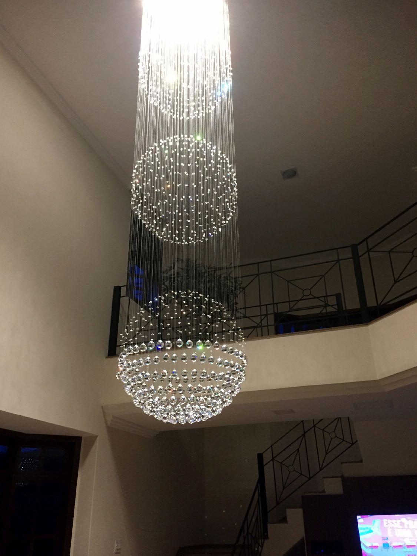 Lustre de Cristal Legitimo Globo Triplo 80cm Pé Direito Duplo Vão de Escada Sala Alta G380 Com Lampadas Led