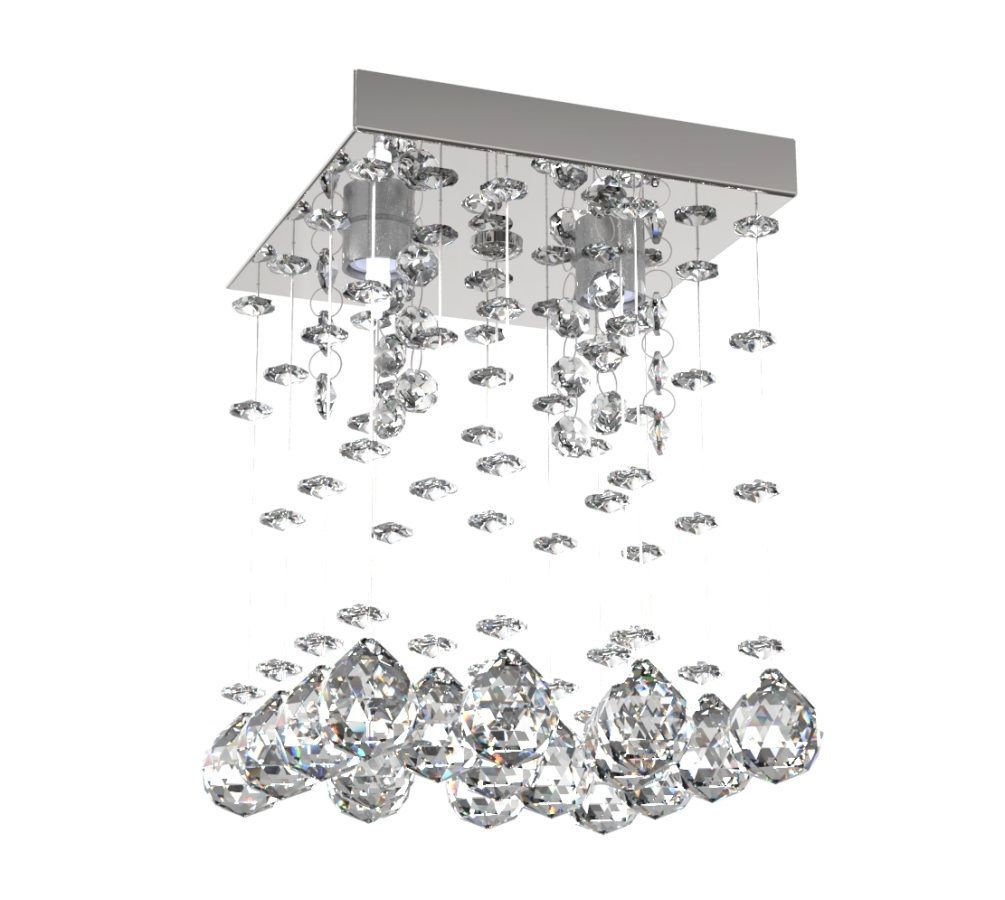 Lustre de Cristal Legitimo Reto 15cm Corredor Lavabo Hall Entrada Sacada C/ Lâmpada Led