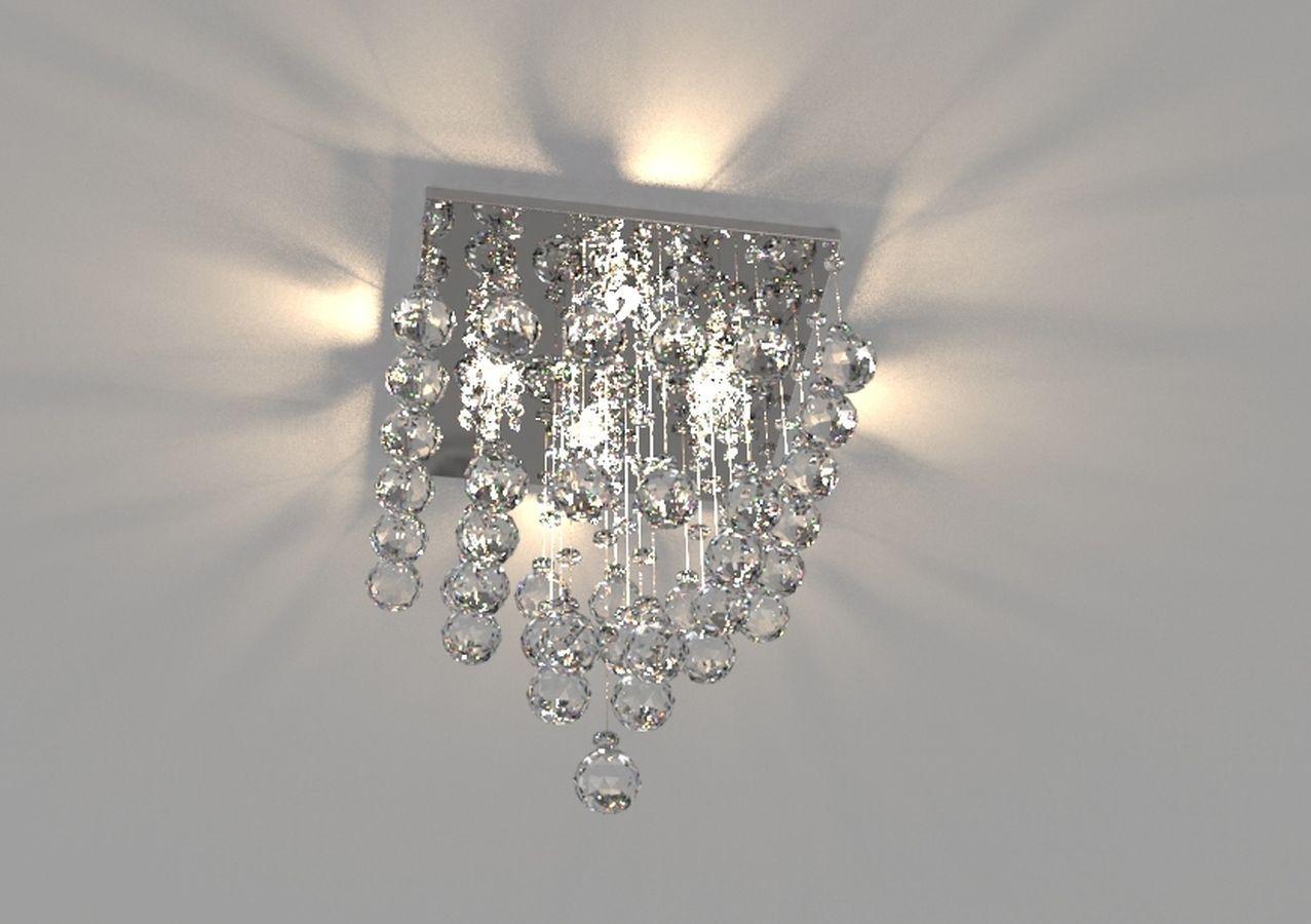 Lustre de Cristal Legitimo 32X32cm Sala Quarto Living Hall de Entrada