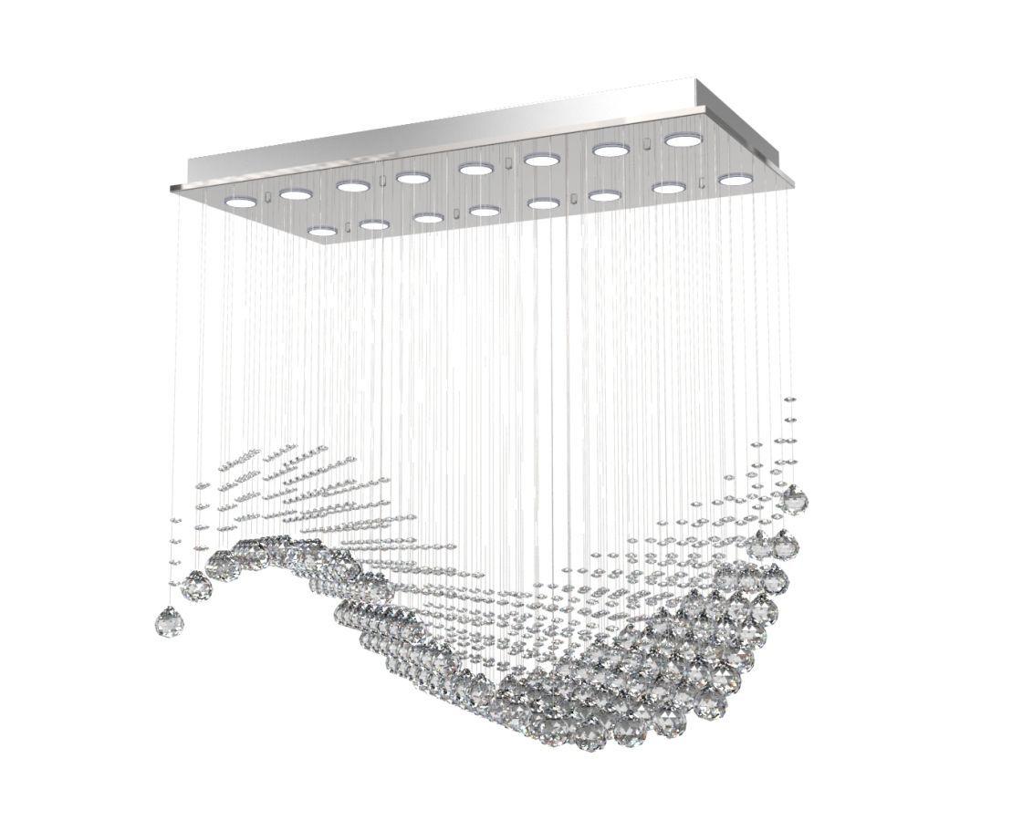 Lustre de Cristal Legitimo Veneza Onda L40X82cm A80cm Soq 16XGU10 C Led