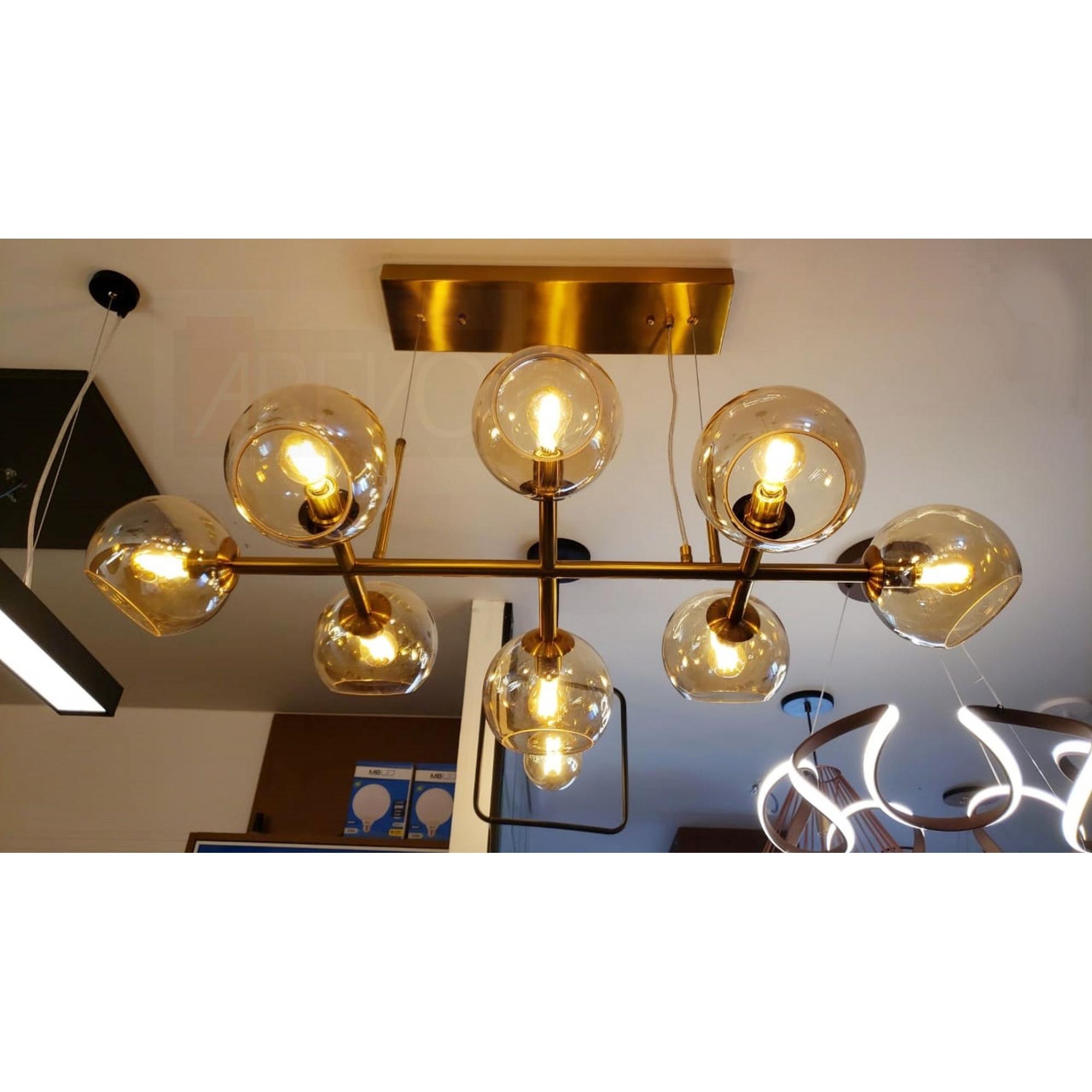 Lustre Pendente Moderno Jabuticaba 8 Lâmpadas Bronze Mesa Gourmet Sala Bancada Passa Prato