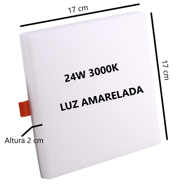 Painel Plafon Led Quadrado 24w 3000k Bivolt 17x17Cm Sala Quarto Corredor