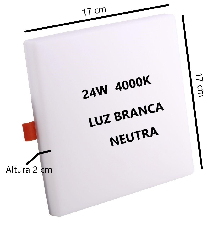 Painel Plafon Led Quadrado 24w 4000k Bivolt 17x17Cm Sala Quarto Corredor