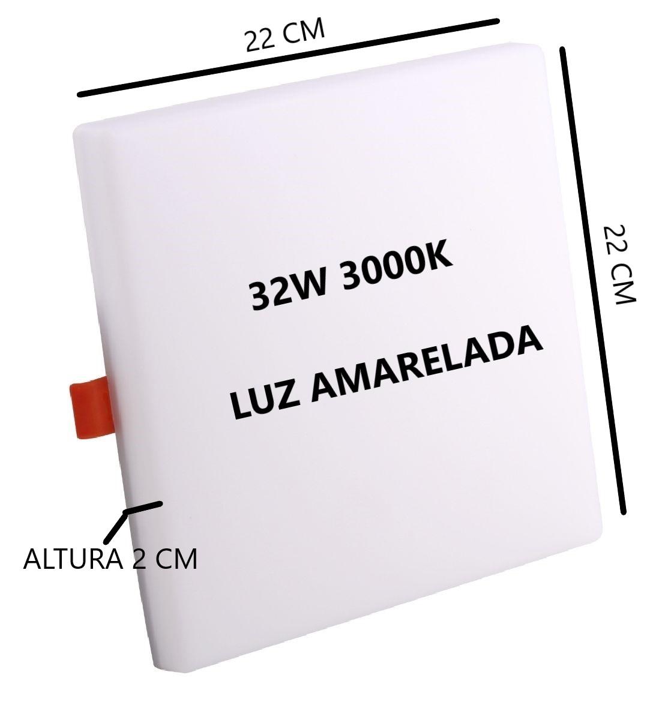 Painel Plafon Led Quadrado 32w 3000k Bivolt 22x22Cm Sala Quarto Corredor