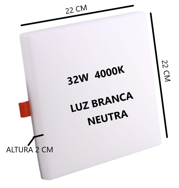 Painel Plafon Led Quadrado 32w 4000k Bivolt 22x22Cm Sala Quarto Corredor