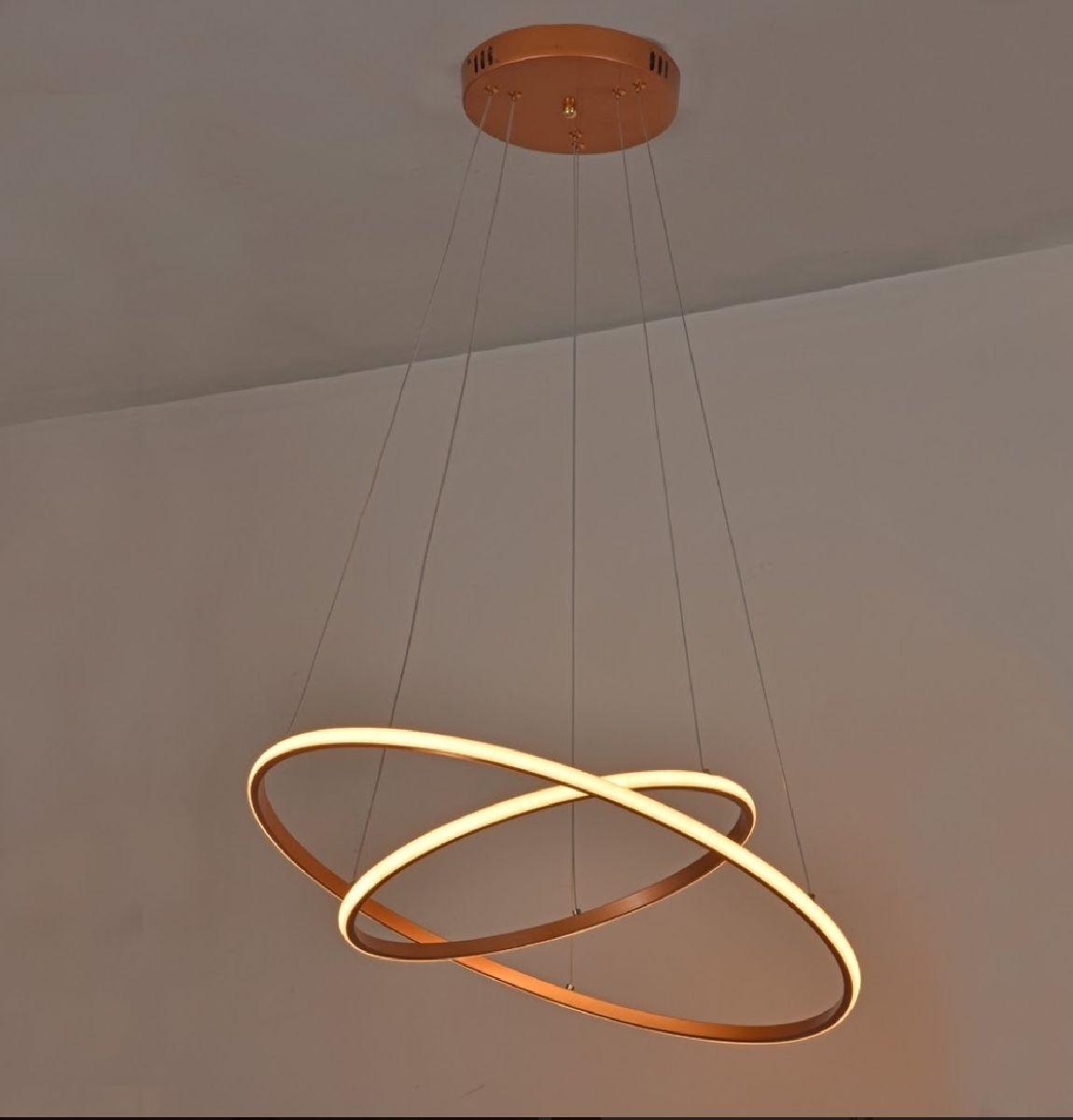Pendente 2 Anéis Ring 60cm Para Mesa Balcão Bancada Sala Quarto Área Gourmet