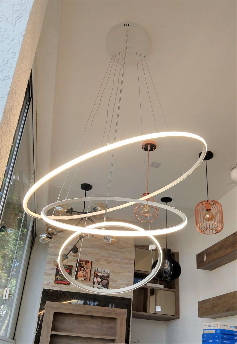 Pendente 3 Anéis Ring 80cm Branco Para Mesa Balcão Bancada Sala Quarto Área Gourmet