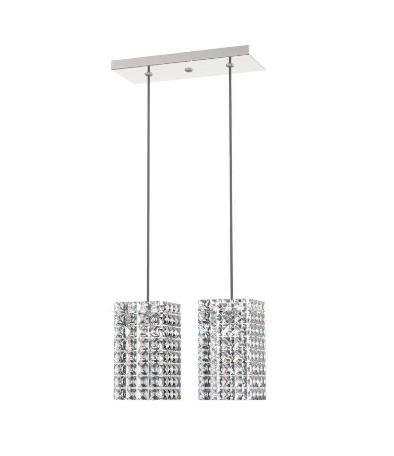 Luminária Pendente de Cristal Legitimo L30X12cm Mesa Balcão Quarto Bancada Passa Prato