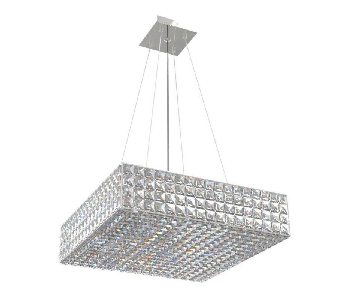 Pendente de Cristal Legitimo Quadrado 40cm Mesa Sala de Jantar Bancada Loft