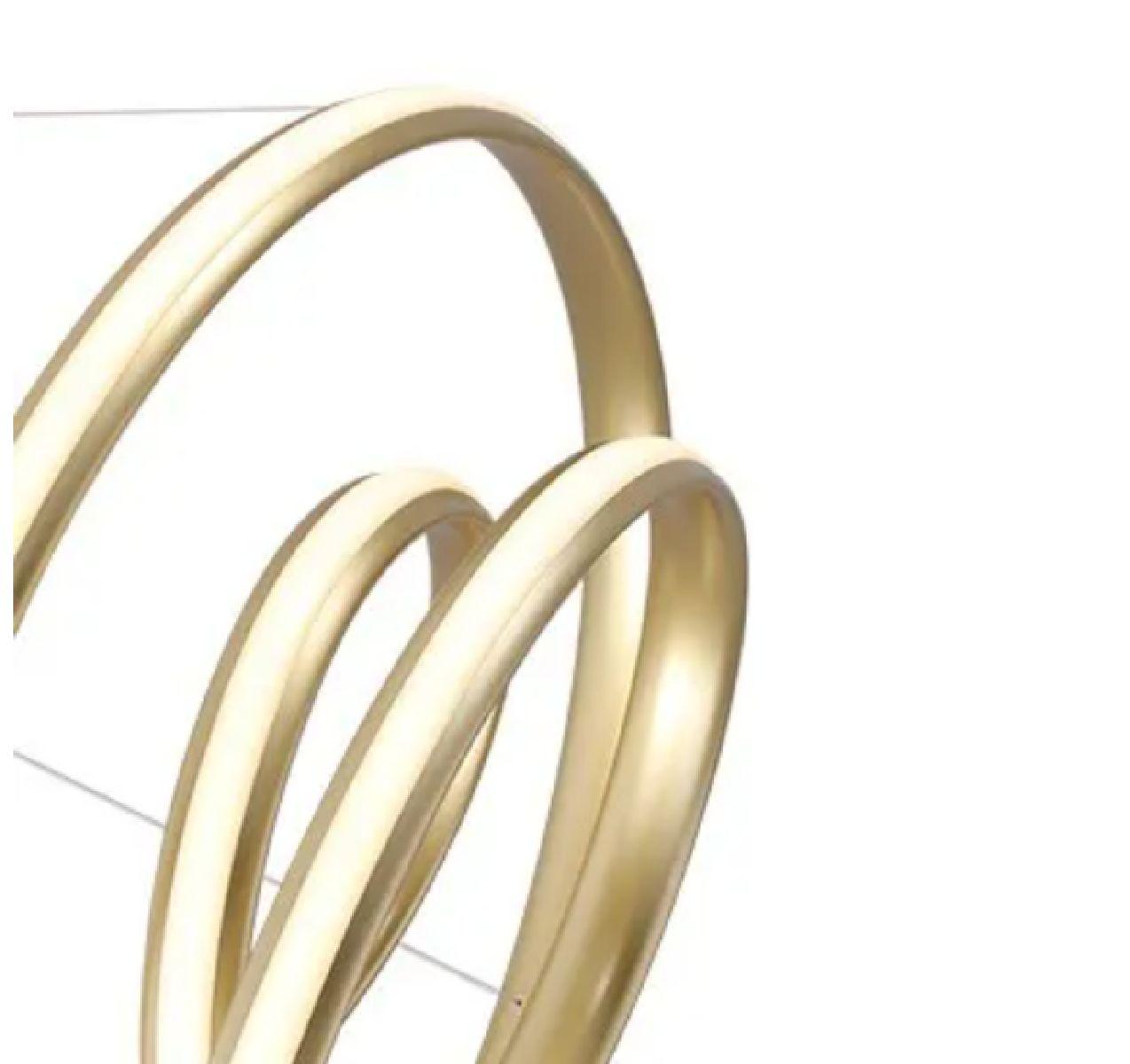 Pendente De Led Infinity Dourado 57cm Para Mesa Sala De Jantar Quarto Living Área Gourmet
