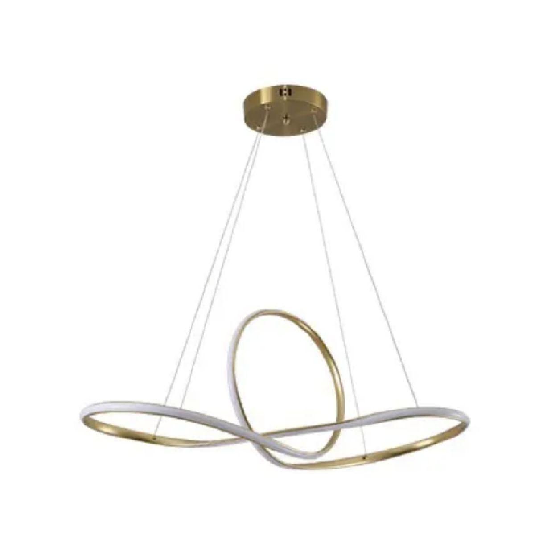 Pendente Led Moderno 80cm Dourado Para Mesa Sala De Jantar Quarto Living Área Gourmet