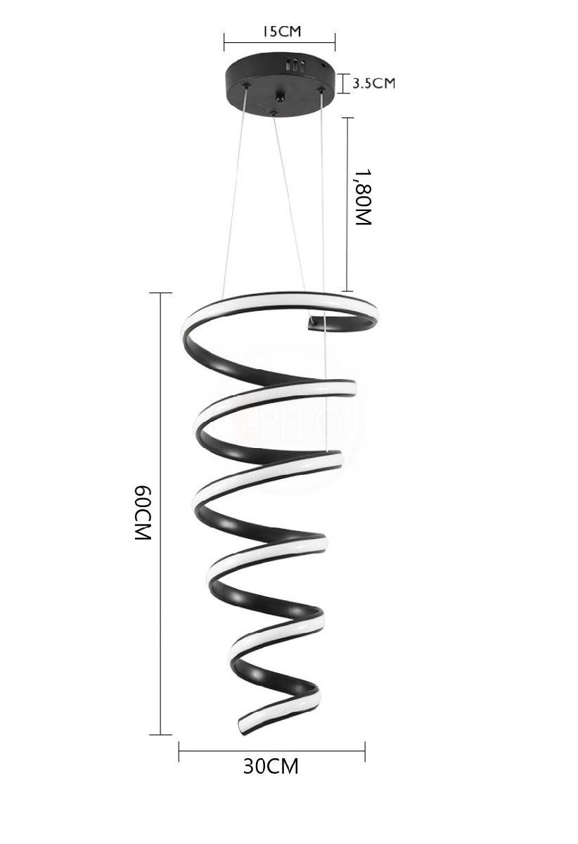 Pendente De Led Moderno Espiral 60cm Para Mesa Vão de Escada Quarto