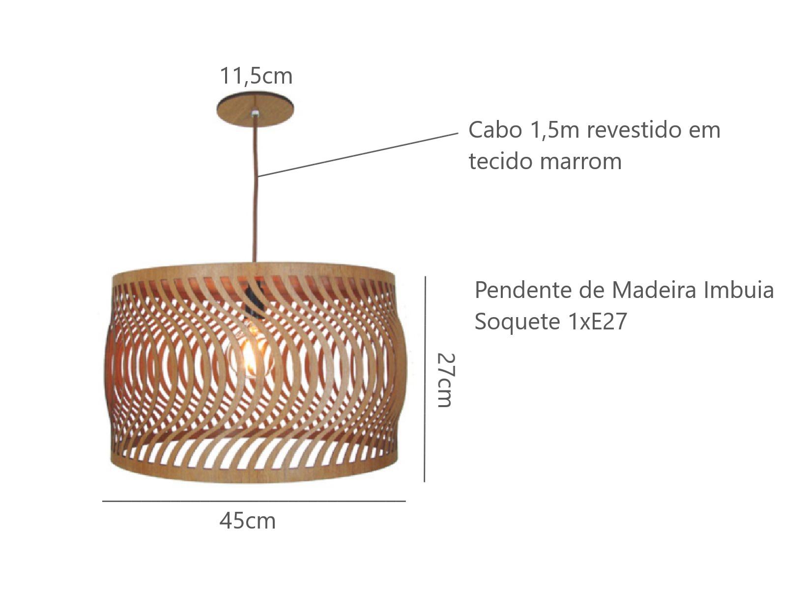 Luminária Pendente em Madeira Imbuia Ondas 45cm Para Mesa Balcão Bancada Área Gourmet