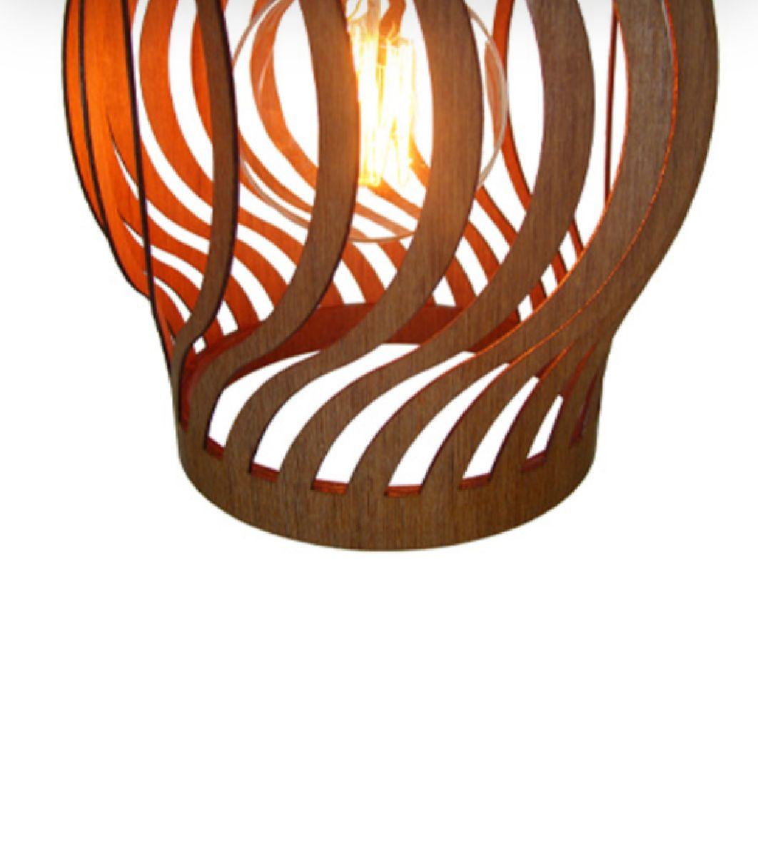 Luminária Pendente em Madeira Imbuia Ondas Para Mesa Balcão Bancada Área Gourmet Cabeceira de Cama