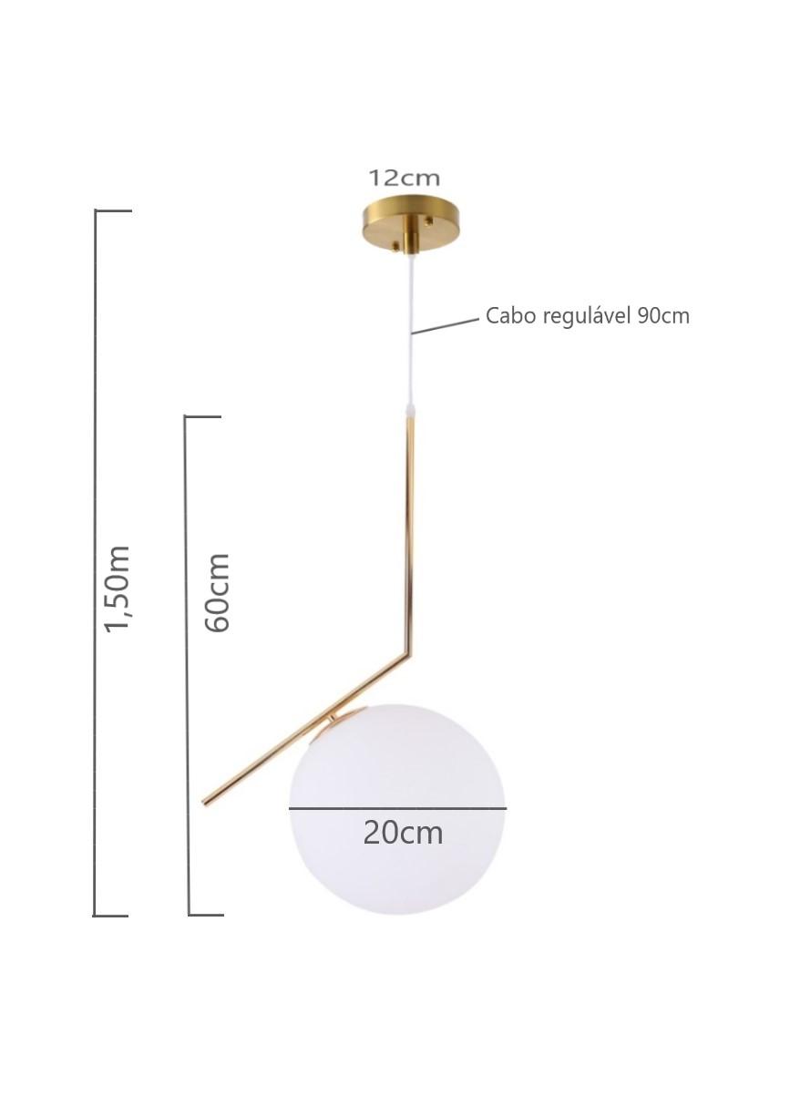 Pendente Globo Jabuticaba 20cm Bronze Quarto Cabeceira Cama Lavabo Aparador