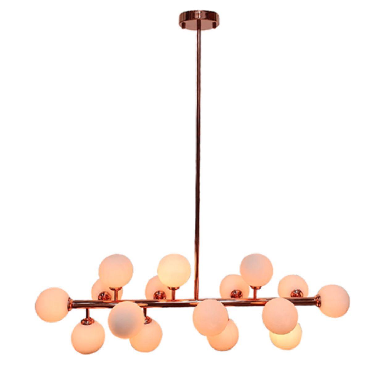Pendente Moderno Jabuticaba Rose Com 16 Lâmpadas Led Para Mesa de Jantar Sala Bancada Área Gourmet