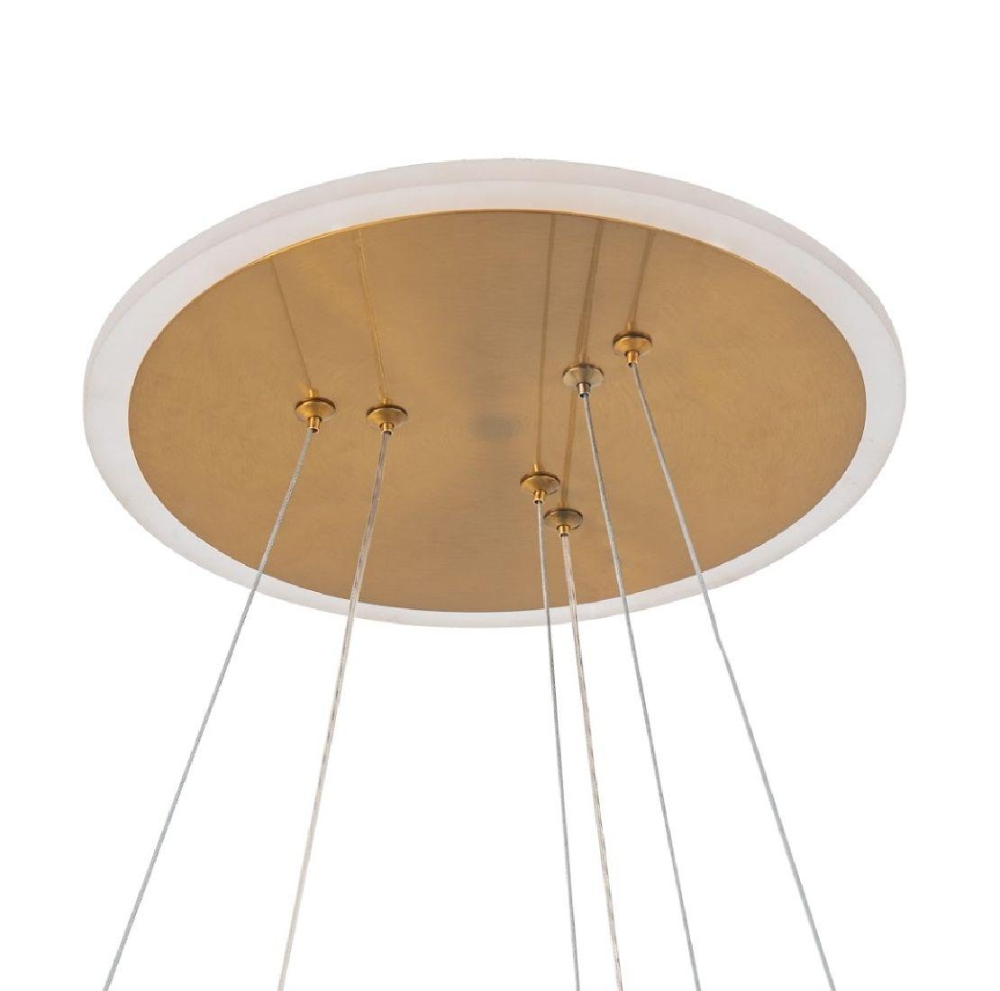 Pendente Led 2 Anéis 60cm Dourado Sala Mesa Balcão Gourmet