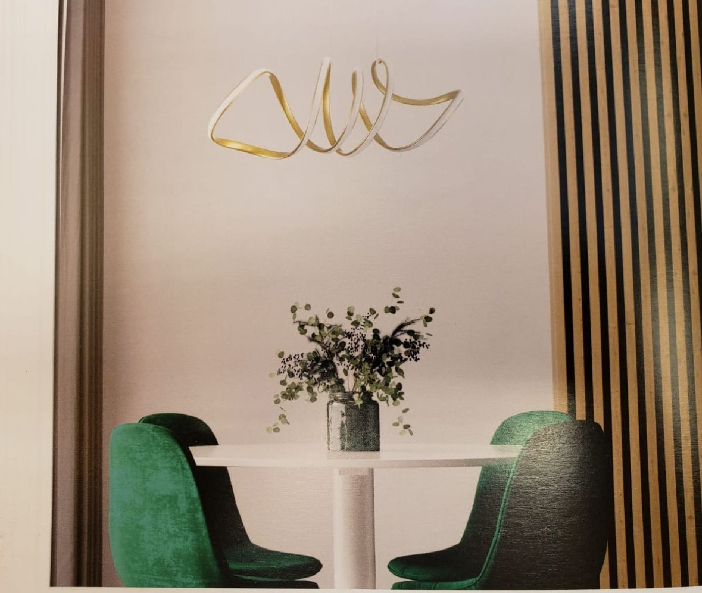 Pendente Led Dourado P/ Mesa Gourmet  Sala De Jantar Quarto