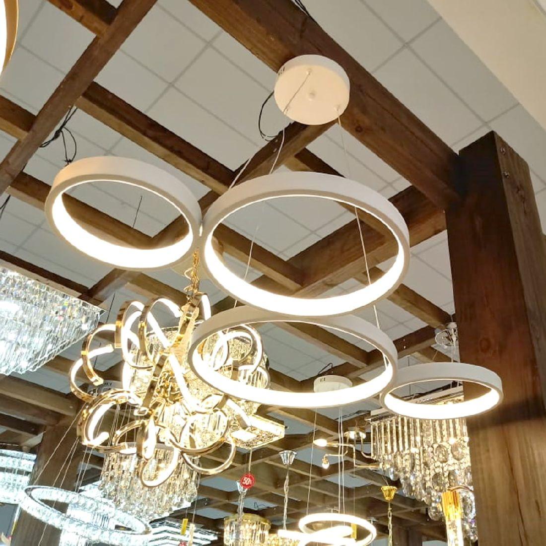 Pendente Led Moderno 4 Anéis 1m Mesa Sala Balcão Gourmet
