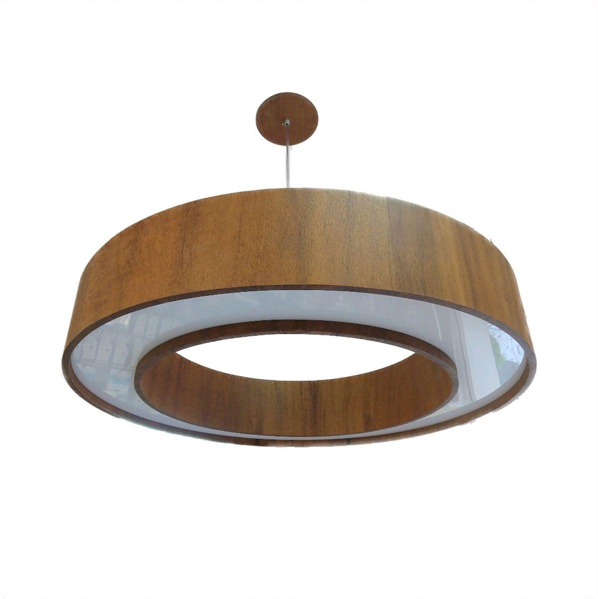 Luminária Pendente Madeira Com Led 70cm Mesa Sala de Jantar Área Gourmet  Accord