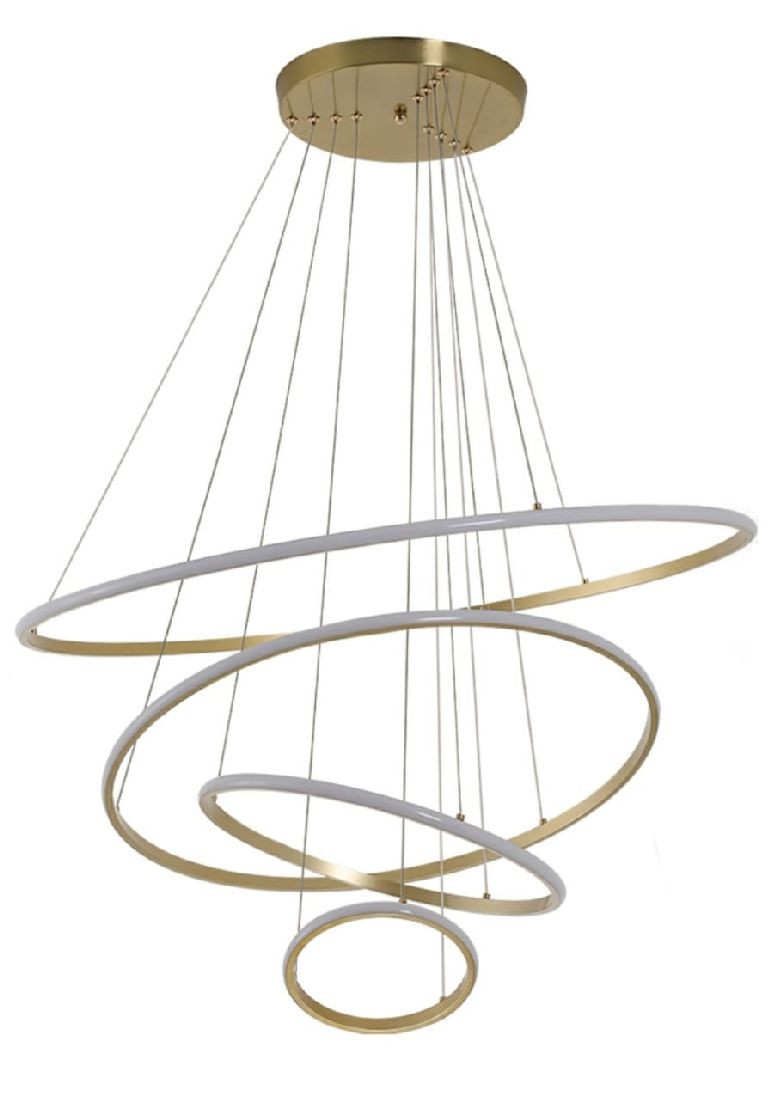 Pendente Moderno 4 Anéis Ring 80cm Para Mesa Vão de Escada Pé direito Duplo Área Gourmet