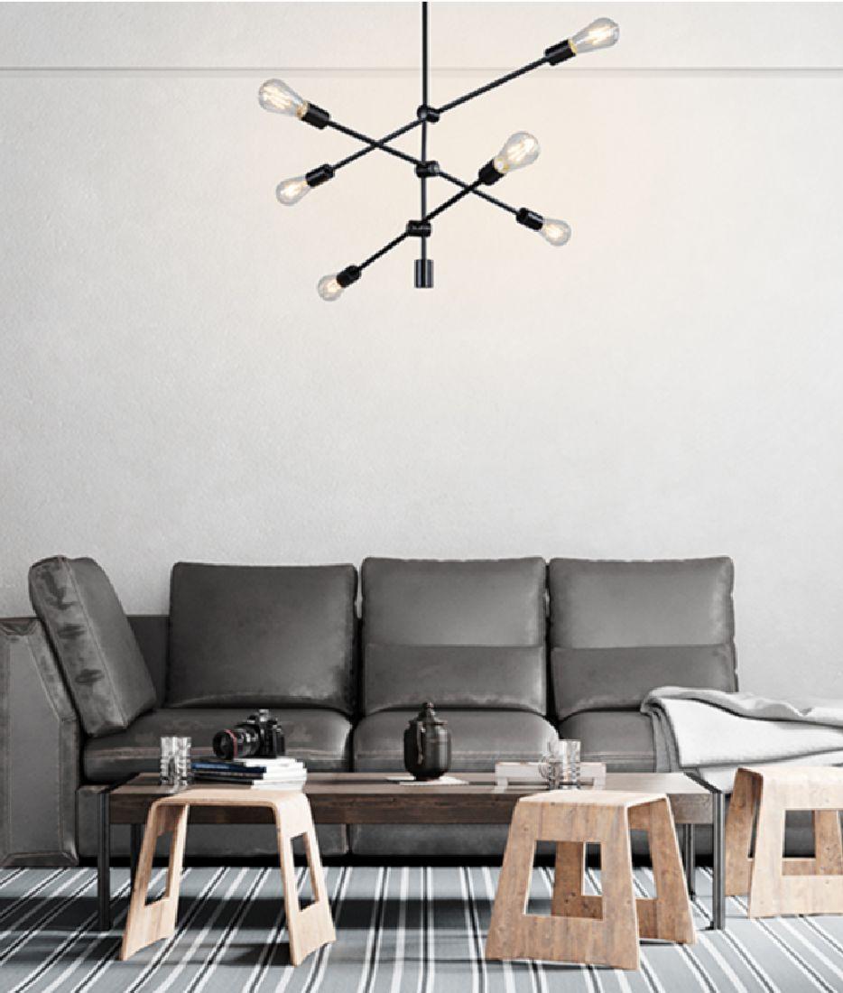 Pendente Moderno Sputnik 6 Lâmpadas Mesa Bancada Área Gourmet