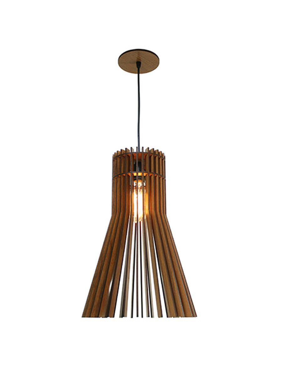 Luminária Pendente Ripado Pincel 30cm Mesa Balcão Bancada Área Gourmet
