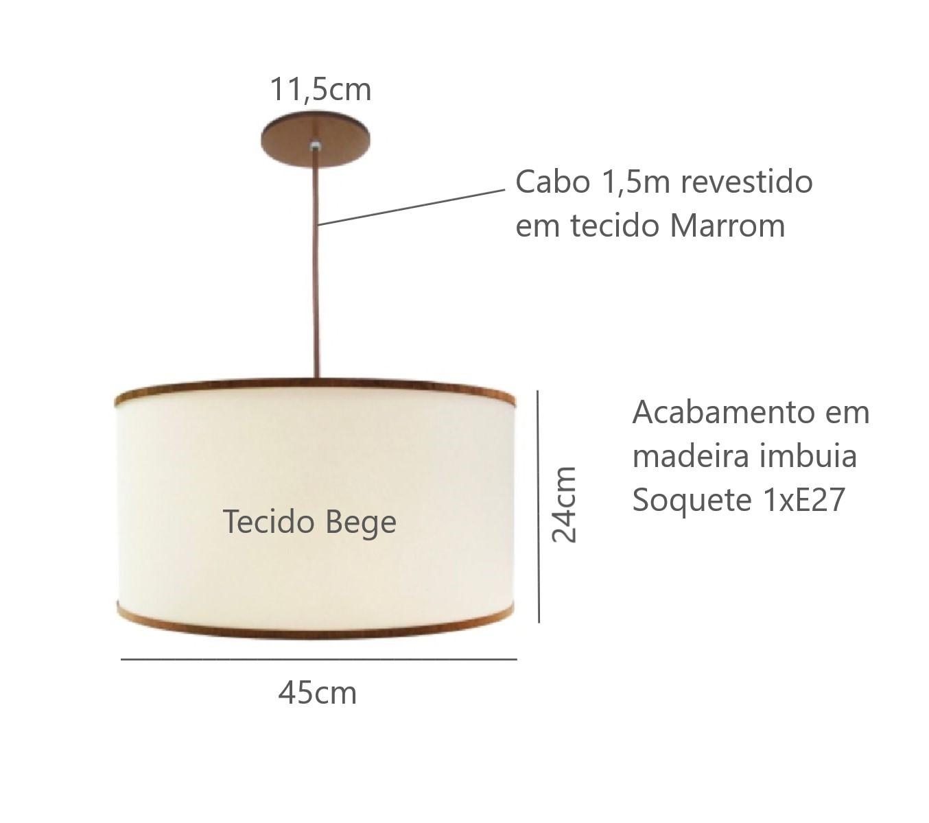 Luminária Pendente Cúpula 45cm Para Mesa Balcão Bancada Área Gourmet