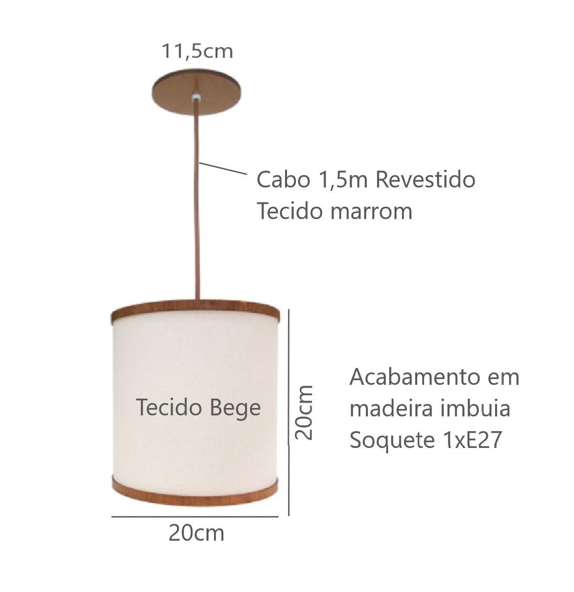 Luminária Pendente Cúpula 20cm Para Mesa Balcão Bancada Área Gourmet Cabeceira de Cama