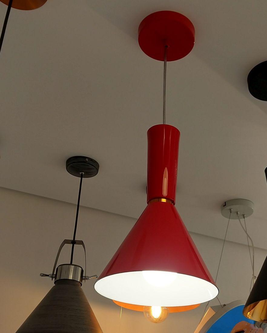 Pendente Vermelho Balcão Mesa Bancada Área Gourmet Caisma