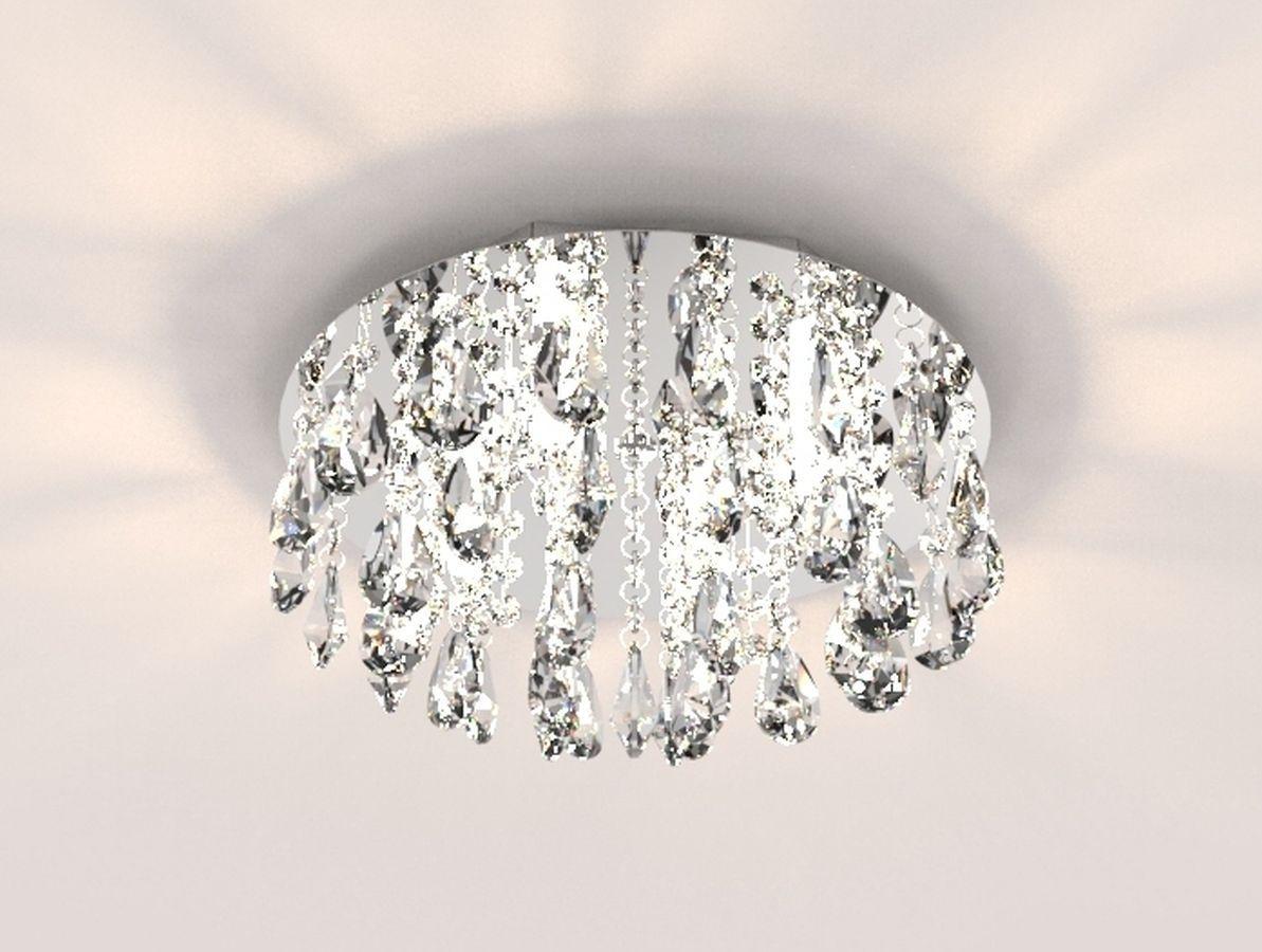 Plafon Lustre de Cristal Legitimo 30cm Quarto Sala Estar Living Hall Entrada Balcão C/ Lâmpadas Led