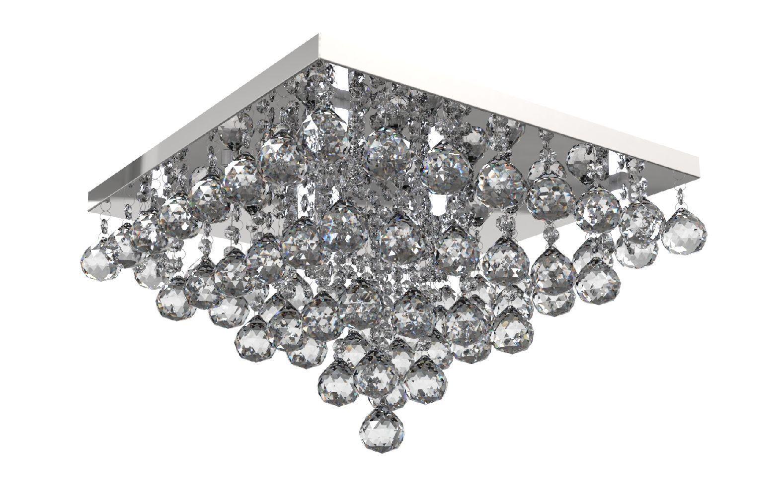 Plafon de Cristal Legitimo 42cm Sala Estar Jantar Quarto Living Loft C/ Lâmpadas Led