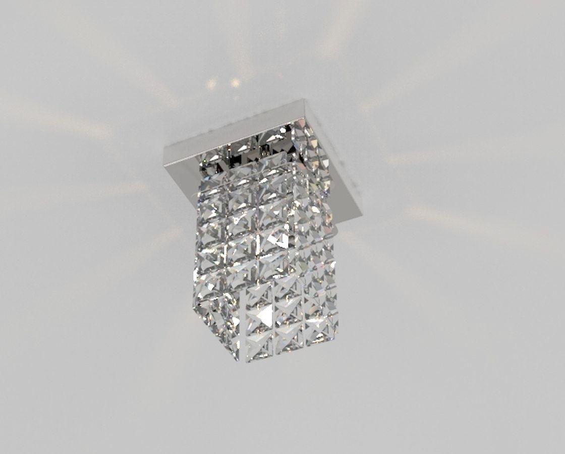 Luminária Plafon De Cristal Quadrado 12cm Balcão Bancada Corredor Lavabo