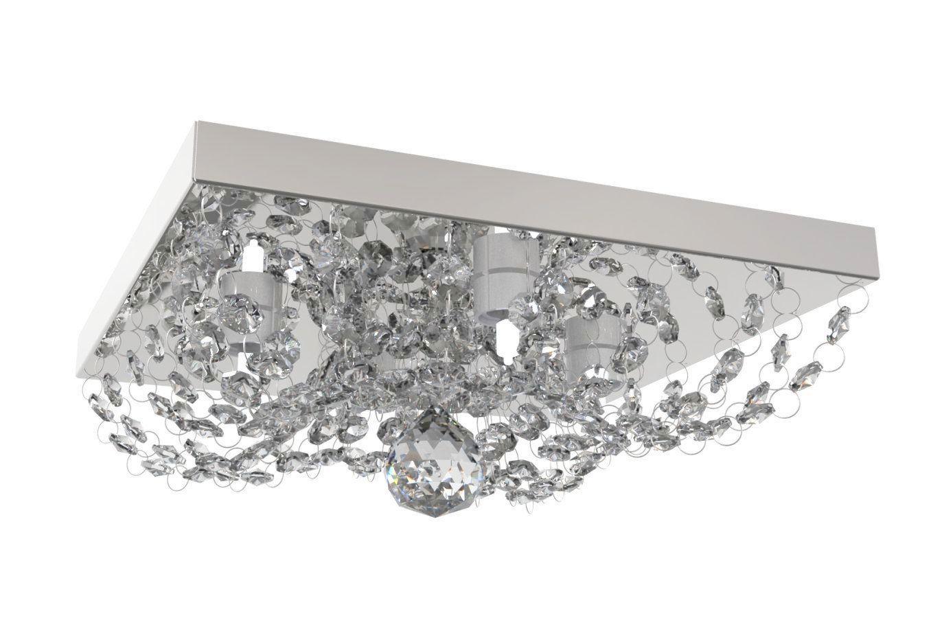 Plafon de Cristal Legitimo Quadrado 25cm Lavabo Corredor Hall Sala C/ Lâmpadas Led