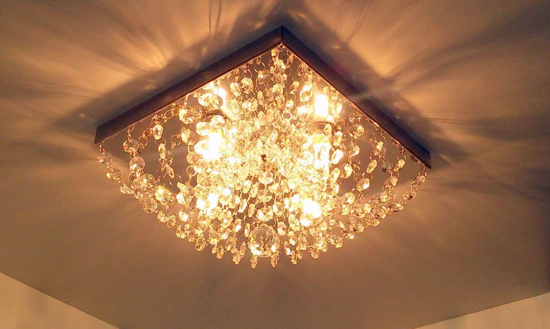 Plafon de Cristal Legitimo Quadrado 25cm Lavabo Corredor Hall Sala