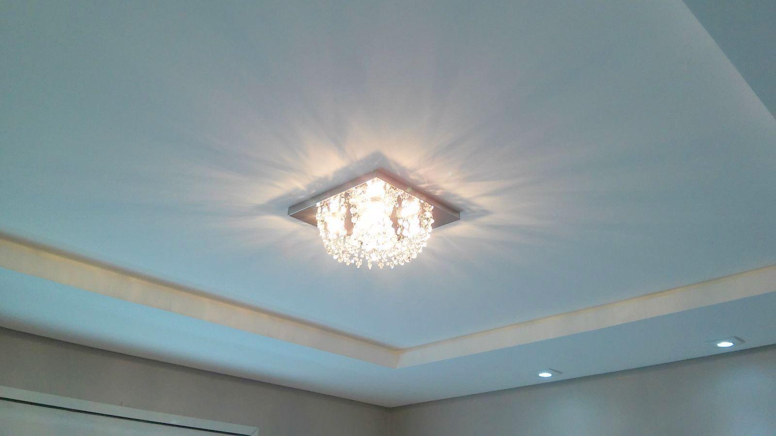Plafon Lustre de Cristal Legitimo Quadrado 30cm Sala Quarto Corredor Living Loft