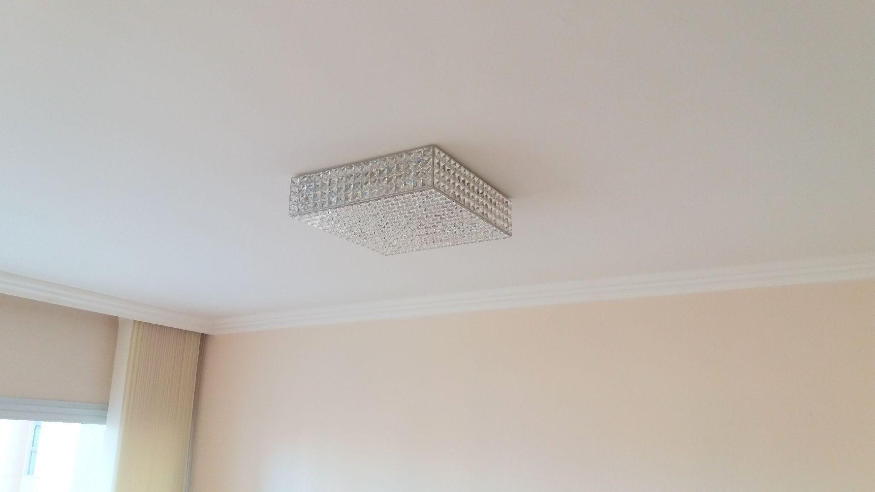 Plafon de Cristal Legitimo Quadrado 40cm  Sala Quarto Living Loft