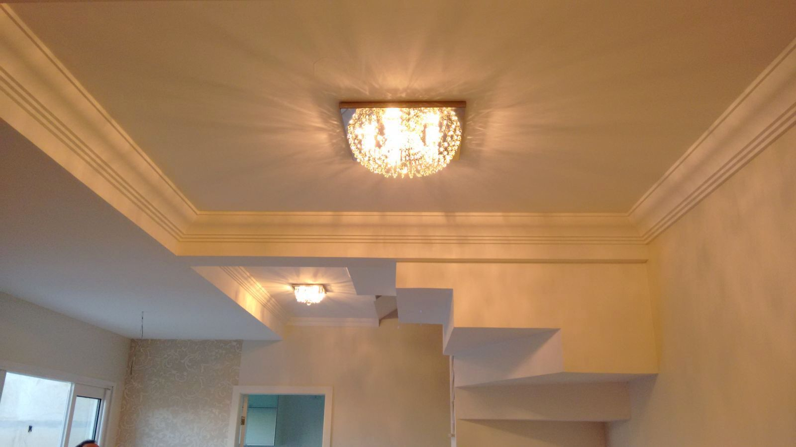 Plafon Lustre de Cristal Legitimo Quadrado 42cm Sala Quarto Corredor Living Loft