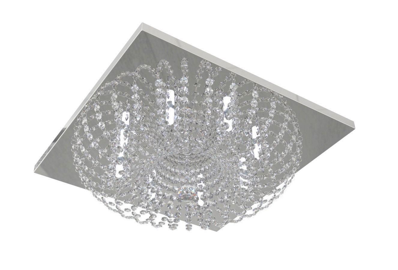 Plafon Lustre de Cristal Legitimo Quadrado 50cm Quarto Sala De Jantar Sala De Estar Living Ático