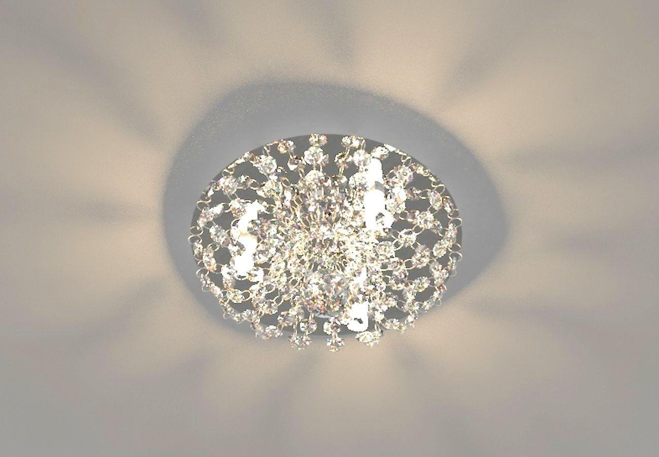Plafon de Cristal Legitimo Redondo 23cm Lavabo Corredor Hall Sala Loft C/ Lâmpadas Led