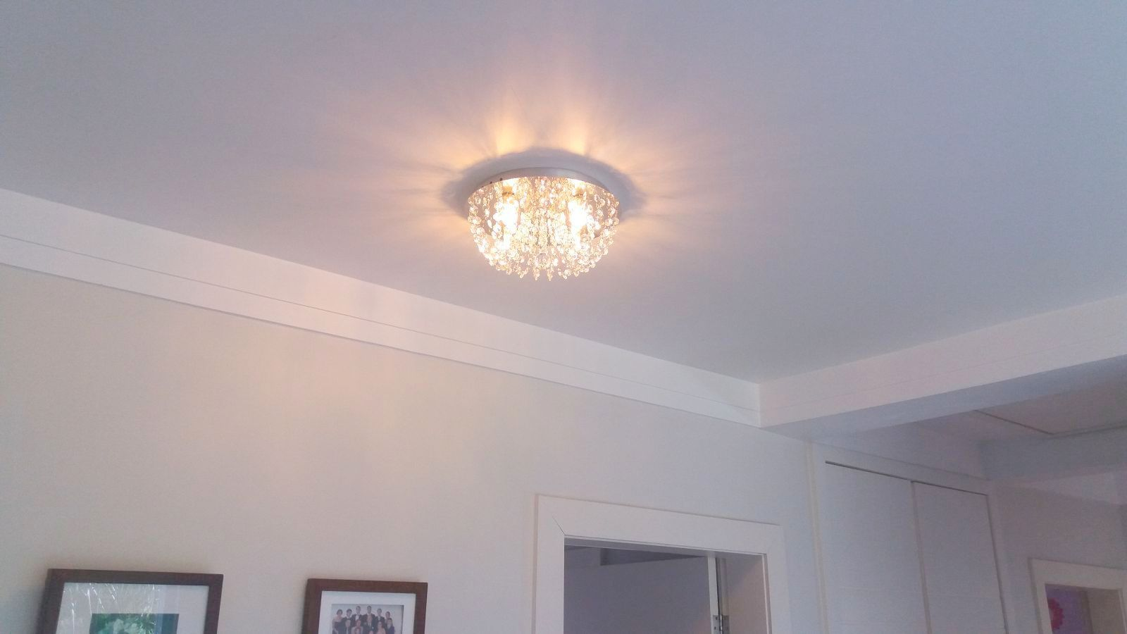 Plafon de Cristal  Legitimo Redondo 30cm Sala Quarto Corredor Living Loft C/ Lâmpadas Led