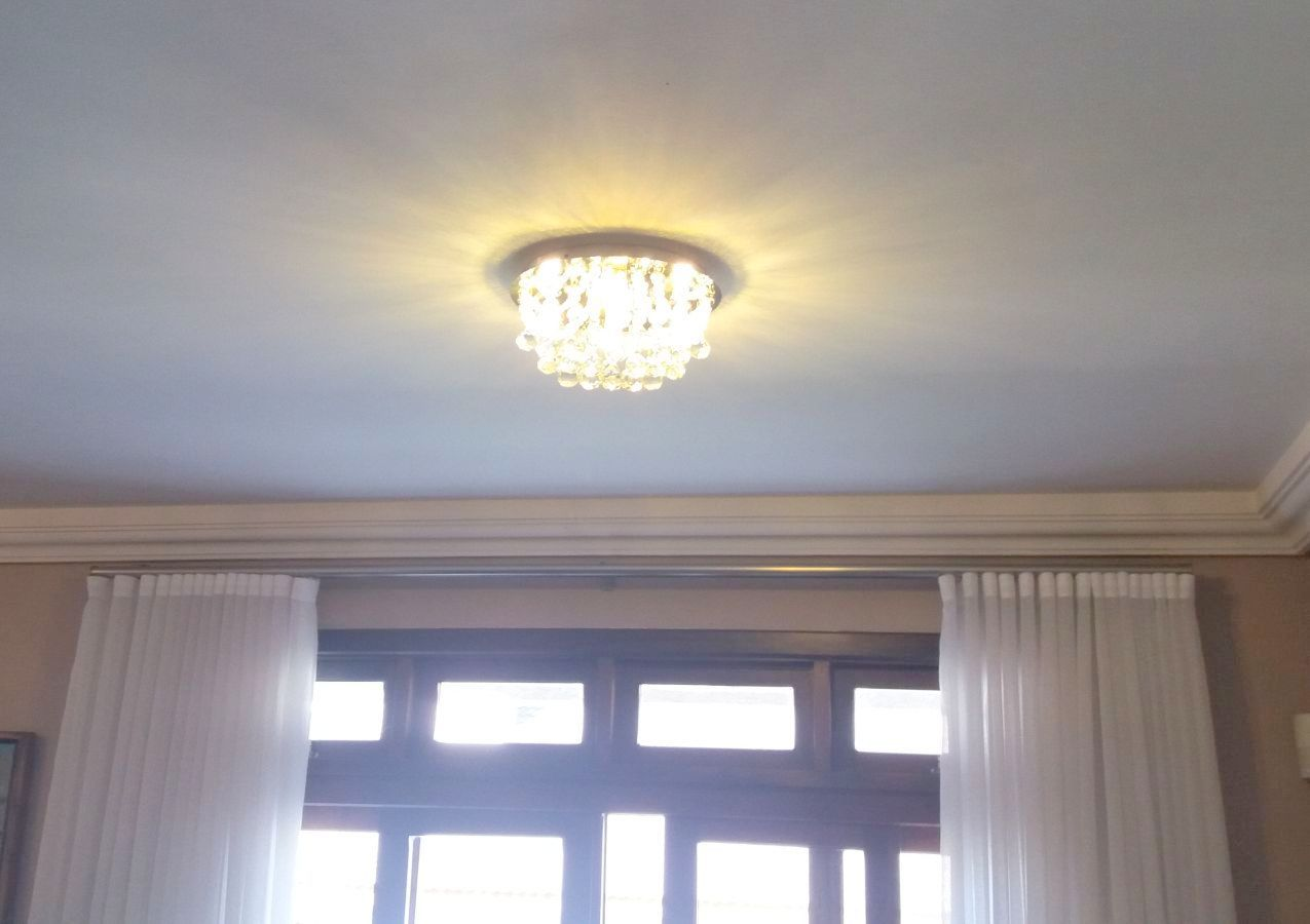 Plafon de Cristal Legitimo Redondo 30cm Sala Quarto Corredor Living Loft C/ Lampadas Led