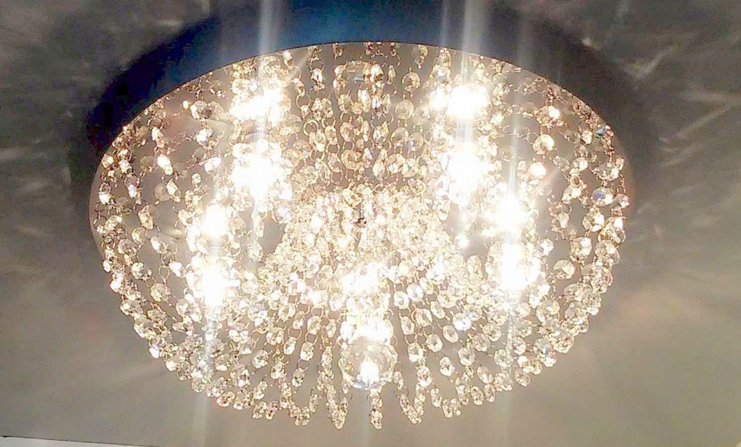 Plafon de Cristal Legitimo Redondo 42cm Sala Quarto Corredor Living Loft C/ Lâmpadas Led