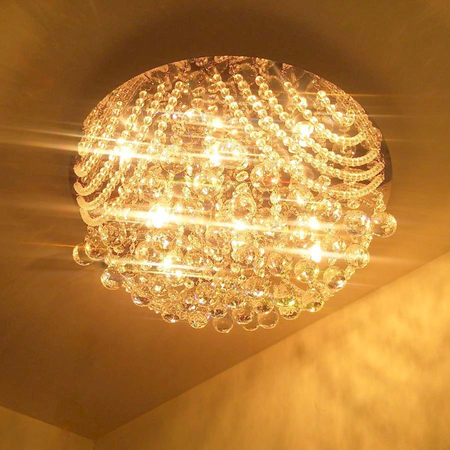 Plafon de Cristal Legitimo Redondo 43cm Sala Quarto Corredor Living Loft C/ Lâmpadas Led