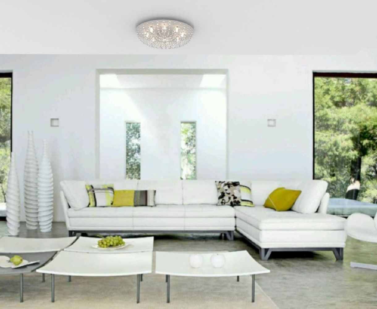 Plafon de Cristal Legitimo Redondo 50cm Sala Quarto Corredor Living Loft C/ Lâmpadas Led